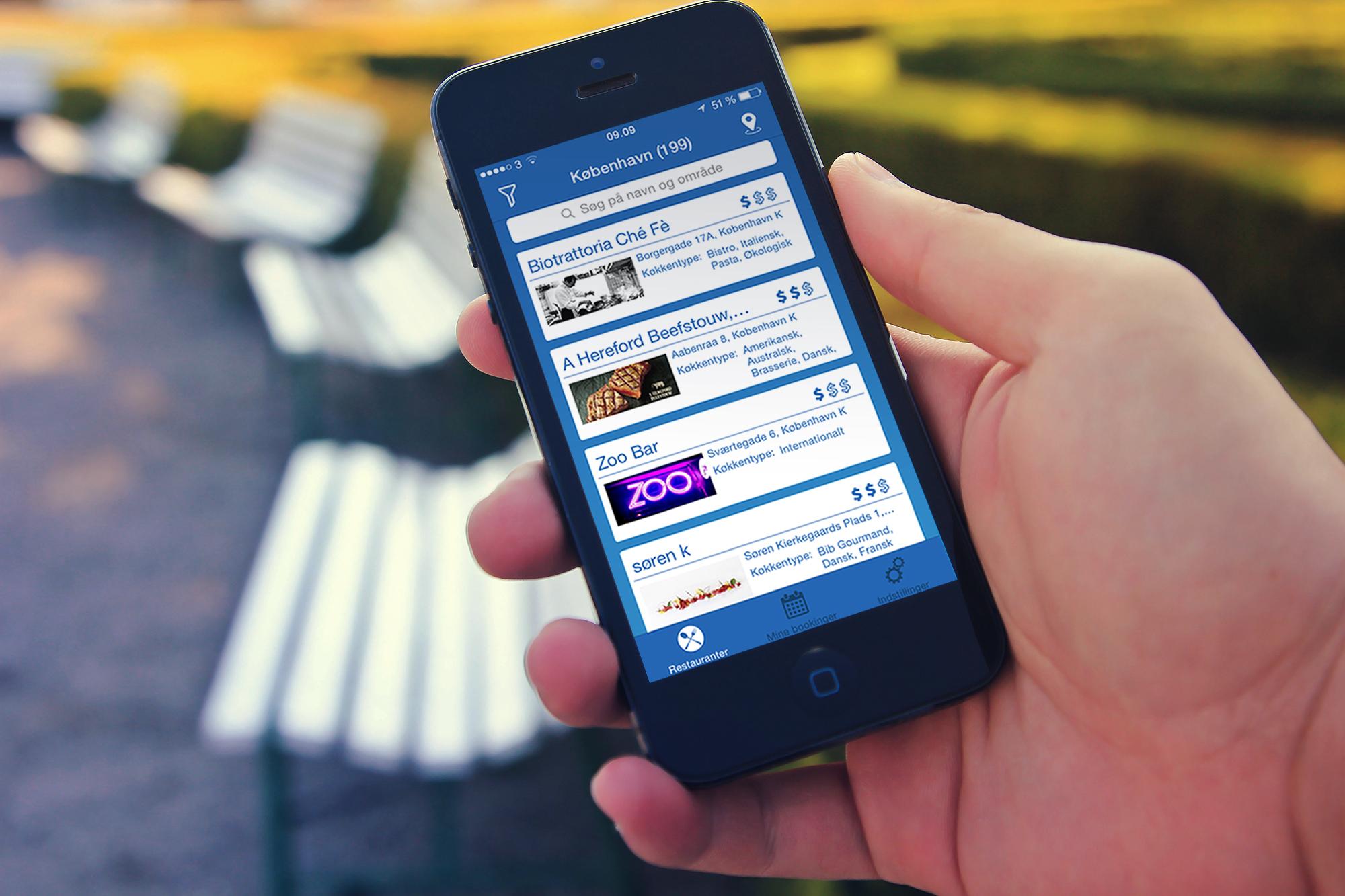 Nu kan du booke dit næste restaurantbesøg via mobilen